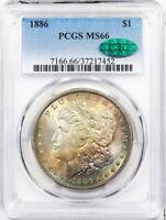 1886 PCGS Morgan Silver Dollar Silver Coin MS-66 ** CAC Cert. Rainbow Toner!