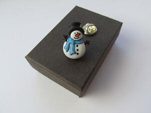 Handmade Unusual Christmas Xmas Blue Scarf Snowman Brooch Lapel Pin - Boxed