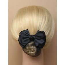 Double en satin noir noeud barrette pince à cheveux avec black mesh snood 9cm hair bun net
