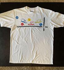 Vintage 1989 sinneT Of Houston White T Shirt L Sneakers Tennis Shoes Hanes