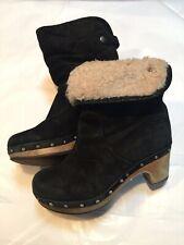 UGG Australia LYNNEA S/N 1955 Black Suede Shearling Wood Clog Boots Size US 5