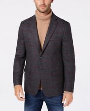 $350 Michael Kors Classic Fit Gray Wine Windowpane Wool Sport Coat 42R 42 New