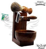 4 Piece Brown Shaving Set |DE Safety razor & Badger Brown Brush | Men's Gift Kit