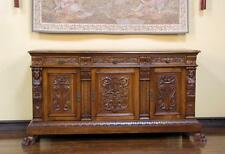 1180229 : Large Antique Italian Renaissance Carved Sideboard Cabinet Buffet