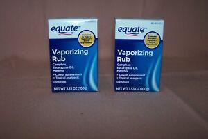 (2) Equate Vaporizing Rub 3.53 oz./100 g. Camphor, Eucalyptus Oil, Menthol NEW