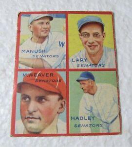 1935 4 in 1 Goudey Manush Lary Weaver Hadley Washington Sentators Baseball Card