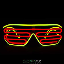 GloFX Luminescence Shutter Frames- Yellow and Red Flashing Rave LED Glasses EDM