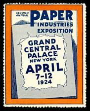 USA Poster Stamp - 1924, New York - Paper Industries Exhibition