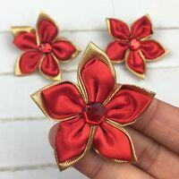 DIY 10-100PCS Satin Ribbon Flower Crystal Bead Appliques Wedding Decoration @15