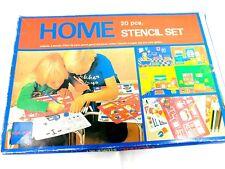 Vintage kids stencil set hard plastic household home items furniture Pink vtg
