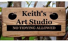 Personalised Art Studio Workshop Door Sign Plaque Painting and Drawing Rustic