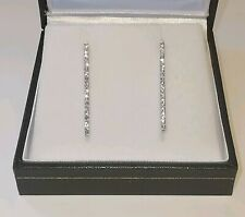 DIAMOND DROP STICK / BAR EARRINGS 27.5mm 9ct 375 white gold studs butterfly back