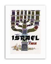 ISRAEL TWA MENORAH JERUSALEM AIRLINE VACATION Travel Canvas art Prints