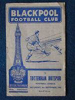 Blackpool v Tottenham Hotspur 8/9/1962 Programme