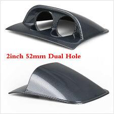 Car Carbon Fiber Color Dashboard 2 Hole Double Gauge Meter Mount Holder Pod 52mm