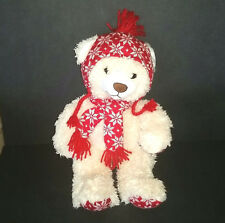 Animal Adventure Winter Teddy Bear Cream Plush Red Knit Scarf Hat Snowflakes