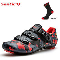Santic Men Road Bike Cycling Camouflage Shoes Self-locking Riding Shoes Red