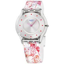Swatch Skin Jardin Fleuri Silver Dial Silicone Strap Ladies Watch SFE102