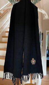 "Vintage 100% Cashmere Polo Ralph Lauren Black Fringe Scarf - Cool Logo! 12 X 54"""