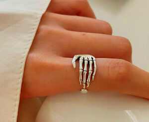 Skeleton Hand 925 Sterling Silver Adjustable Thumb Ring Womens Jewellery Gift UK