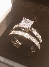 2.50 Ct Princess Solitaire Engagement Ring Wedding Band Bridal Set White Gold ov