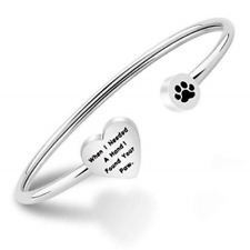 ENSIANTH Dog Lovers Paw Print Bangle Bracelet When I Needed A Hand I Found Your