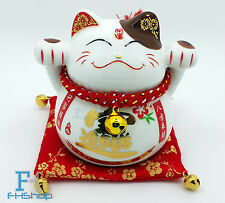 Maneki Neko Feng Shui Lucky Cat Fortune Wealth Decoration Porcelain