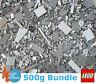 Genuine Lego 500g Bundle of Mixed Grey Bricks Joblot + Free Minifigure