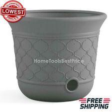 Decorative Gray Lawn Garden Water Hose Storage Pot Holder Reel Durable Resin