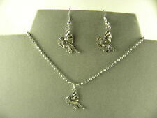 UNIQUE & QUAINT  TIBETAN SILVER DRAGON NECKLACE AND DANGLE EARRING SET
