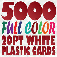 5000 Full Color Custom 20pt WHITE PLASTIC BUSINESS CARD Printing w Round Corners