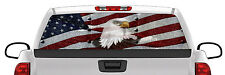 Riveted American Flag Eagle Rear Window Graphic Perforated Film Decal Truck SUV