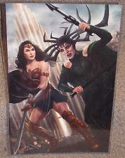 Wonder Woman vs Hela Glossy Art Print 11 x 17 In Hard Plastic Sleeve