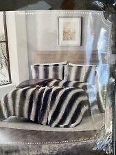 Snow Leopard Faux Fur Full/queen 3-piece Comforter Set In Gray