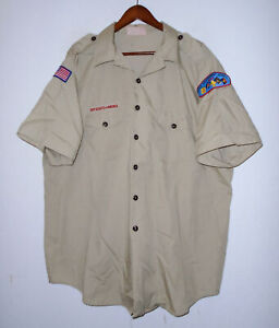 BOY SCOUTS Of America Insignia Uniform Shirt BSA Scout Vtg USA Adult Mens : 2XL