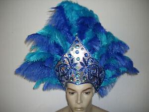 federkopfschmuck Samba blau türkis unikatRevue Travestie Karneval Federhaube