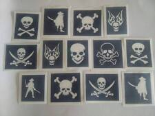 30 x Pirate & skull themed stencils  - glitter tattoos /  face painting boys