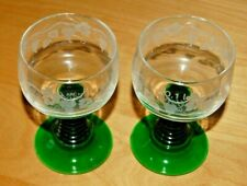 VINTAGE ARC GREEN STEM WINE GLASSES 0.1 l set of 2
