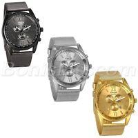Men Luxury Business Roman Numberals Mesh Stainless Steel Date Quartz Wrist Watch