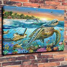 "Home Decor Art QUALITY CANVAS PRINT Oil Painting Sea Turtles Bay,12""x16"""