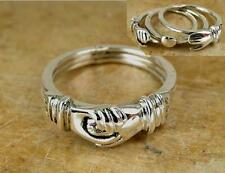 STERLING SILVER 3 PC. MOVABLE CLASPING HANDS RING size 8  style# r0622