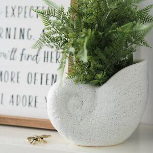Nautilus Seashell White Ceramic Vase Planter Pot Hamptons Coastal Home Decor