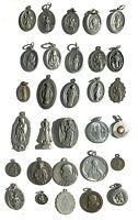 ✝LOT 30 Silver/Pewter/copper Saints Religious Medals Charm Catholic🙏VTG/Antique