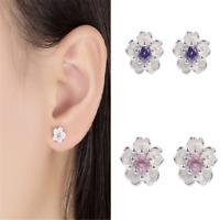 Chic 925 Silver Crystal Cherry Blossoms Flower Ear Stud Earrings For Women Girl