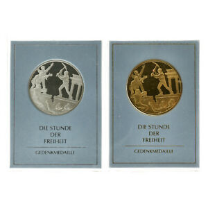 Germany - Lot (2) Silver/Gold Plated Silver Token - Berlin Wall: Hour of Freedom