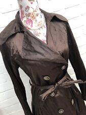 Joseph Ribkoff Coat Size 6 Brown Lightweight Mac Crinkle Victorian Steampunk