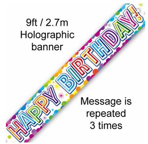 Happy birthday Banner Rainbow Holographic 9Ft PARTY Decor rose gold white
