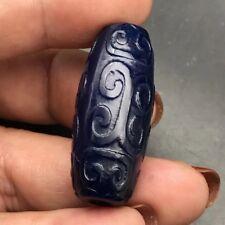 35MM  Jewel blue agate dragon bead