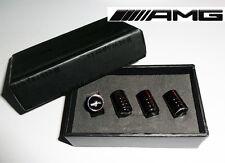 AMG Mercedes Deluxe Black Chrome Wheel Valve Dust Caps. C63 SLR CLS