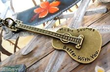 Bronze Guitar Inscription MUSIC SOUNDS BETTER WITH YOU Necklace Country 56cm